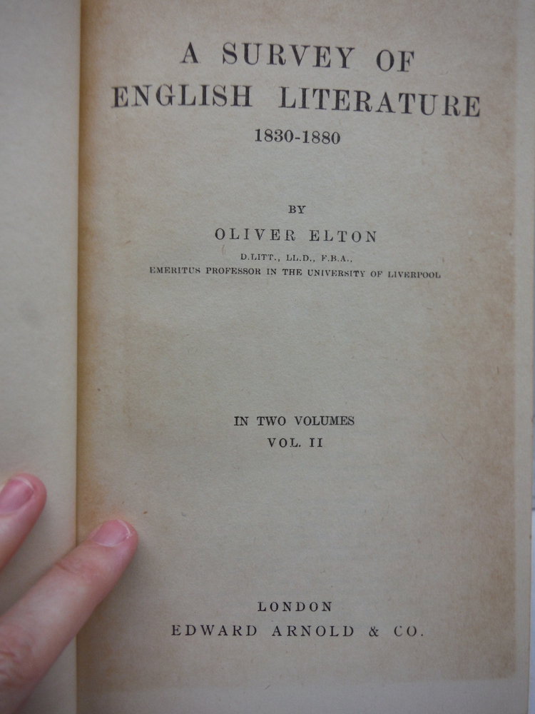 Image 1 of A Survey of English Literature 1830 - 1880 in Two Volumes