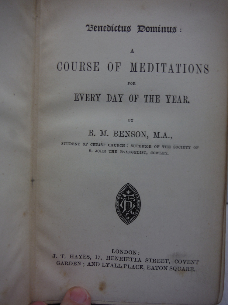 Image 2 of Benedictus Dominus: a Course of Meditations for Every Day of the Year,
