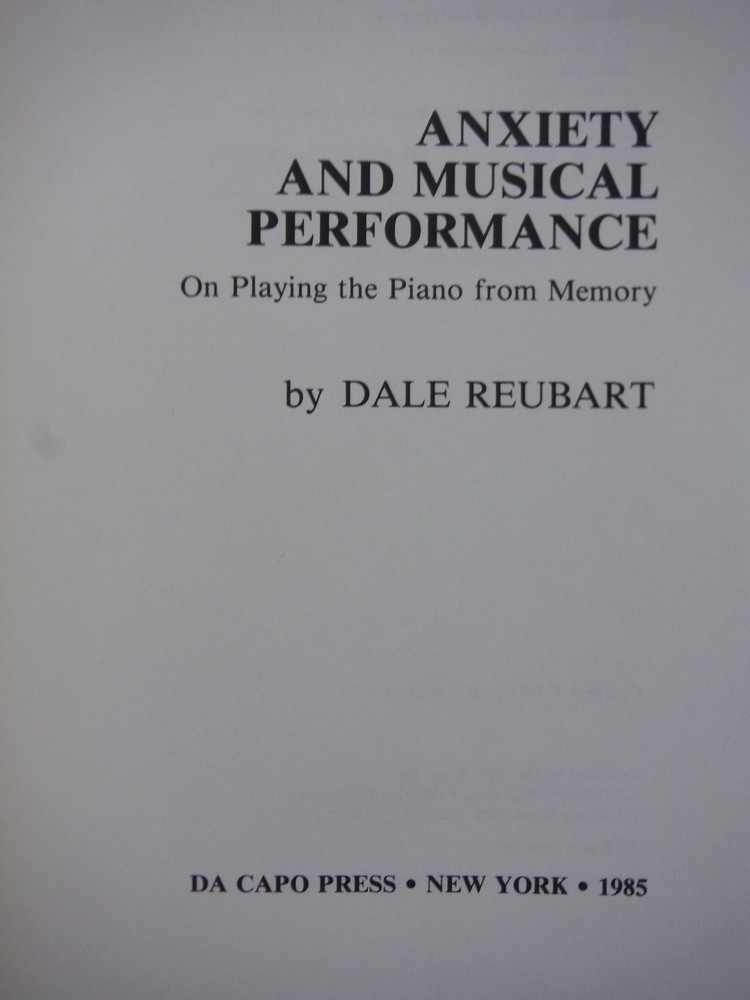 Image 1 of Anxiety And Musical Performance (Da Capo Press Music Series)