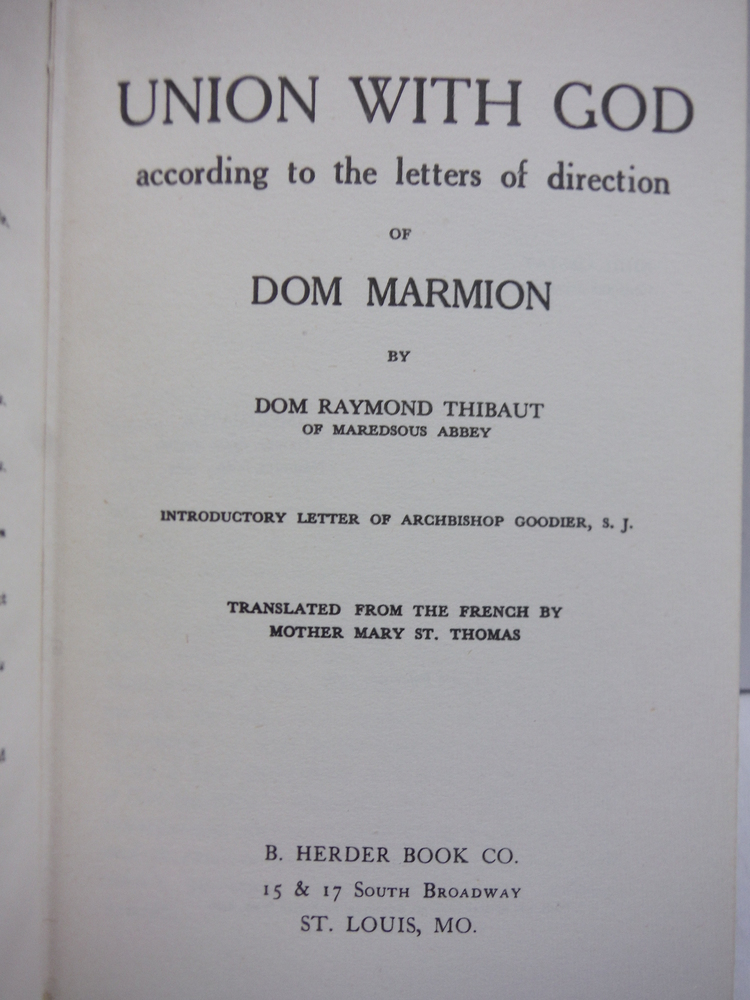 Image 1 of Union with God According to the Letters of Direction of Dom Marmion.