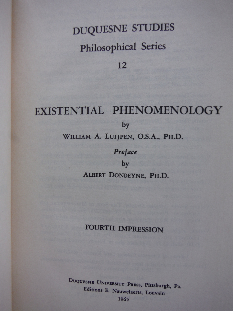 Image 1 of Existential phenomenology (Duquesne studies.  Philosophical series)