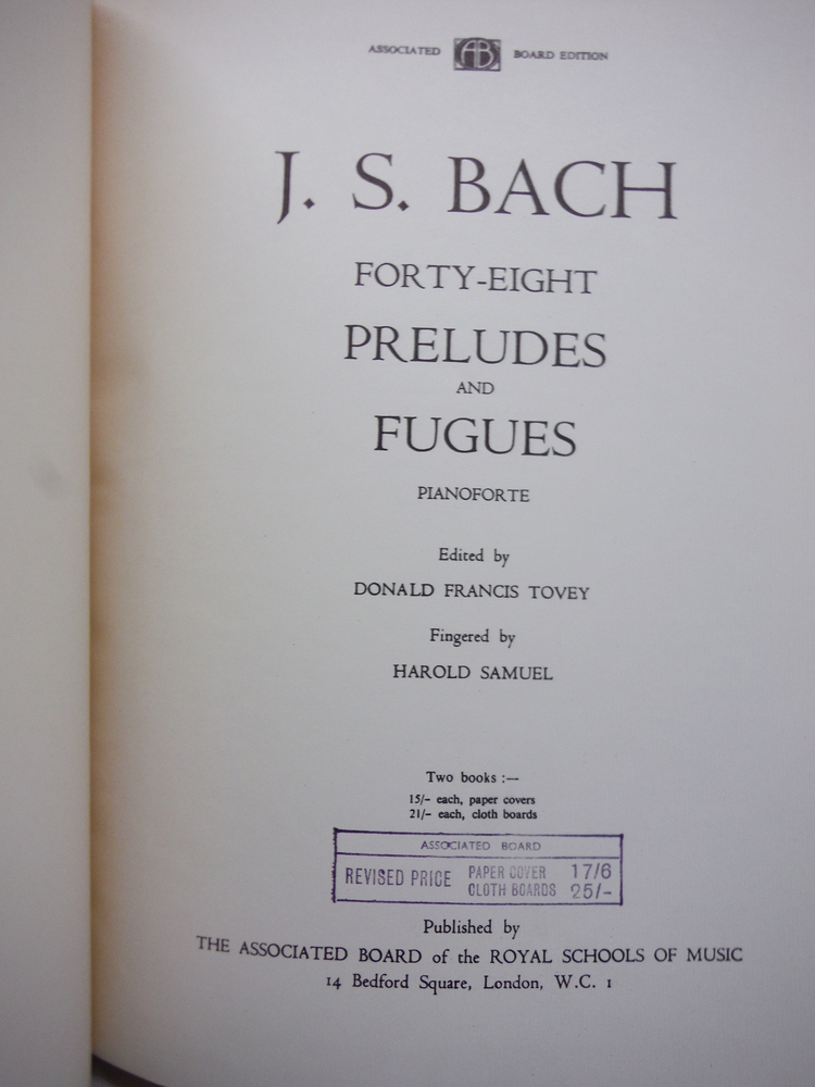 Image 1 of J. S. Bach Forty-eight Preludes & Fugues Book 1