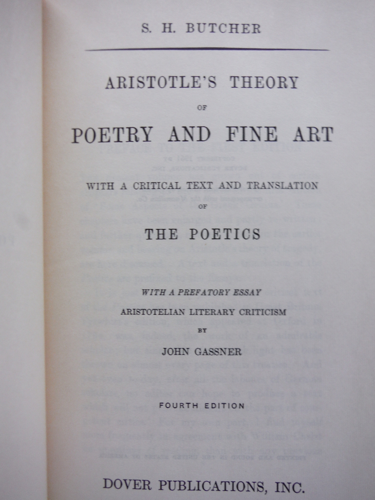 Image 1 of Aristotle's Theory of Poetry and Fine Art