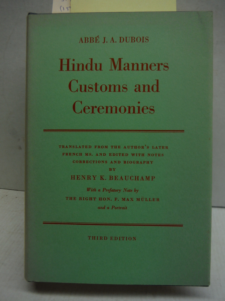 Hindu Manners, Customs and Ceremonies (Third Edition)