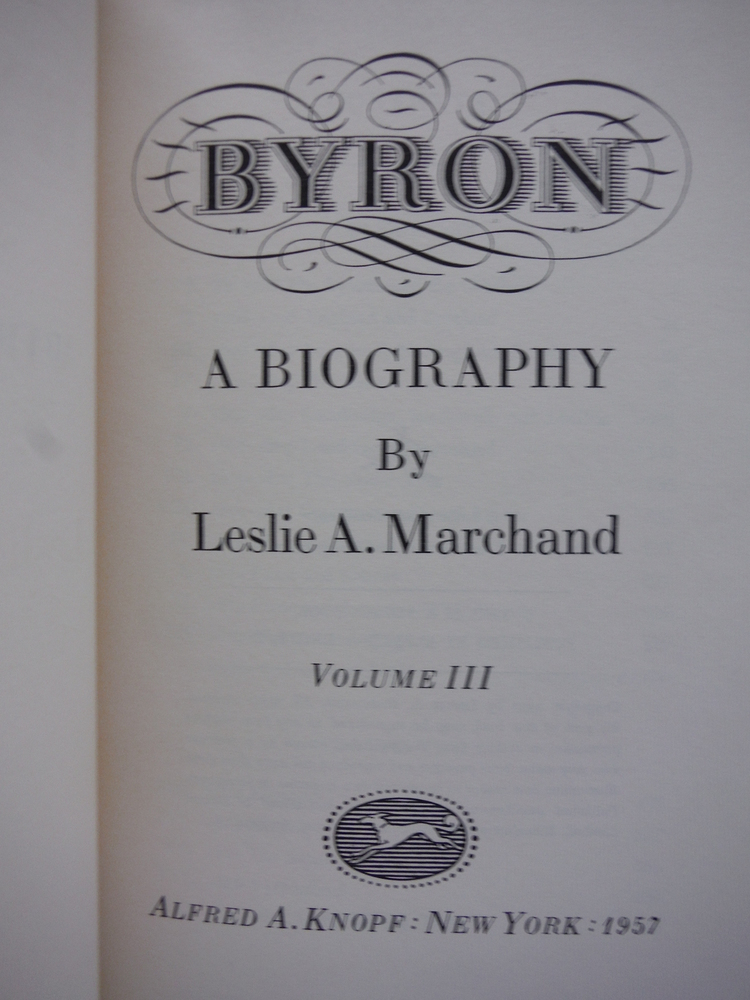 Image 2 of Byron a Biography 3 Volumes