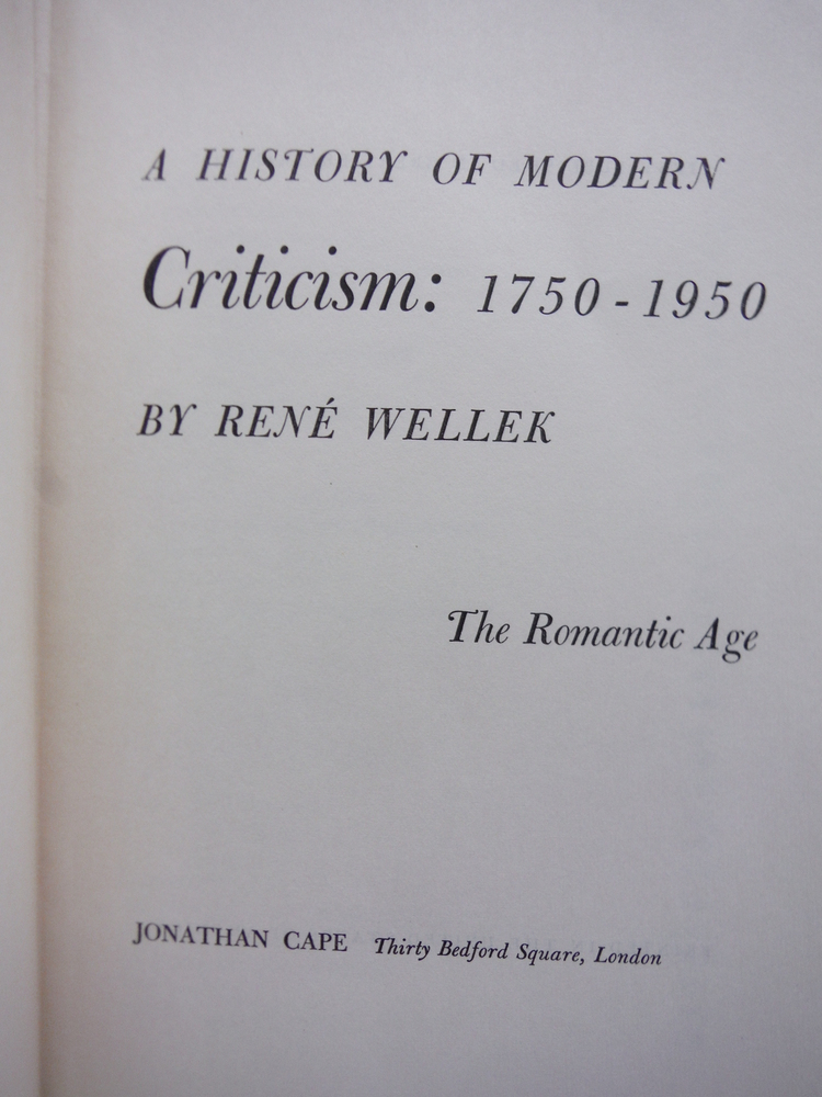 Image 1 of A History of Modern Criticism: 1750-1950. The Romantic Age (Volume 2)