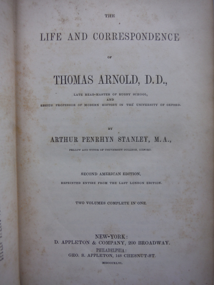 Image 2 of The Life And Correspondence Of Thomas Arnold, D. D. Late Head-Master of Rugby Sc