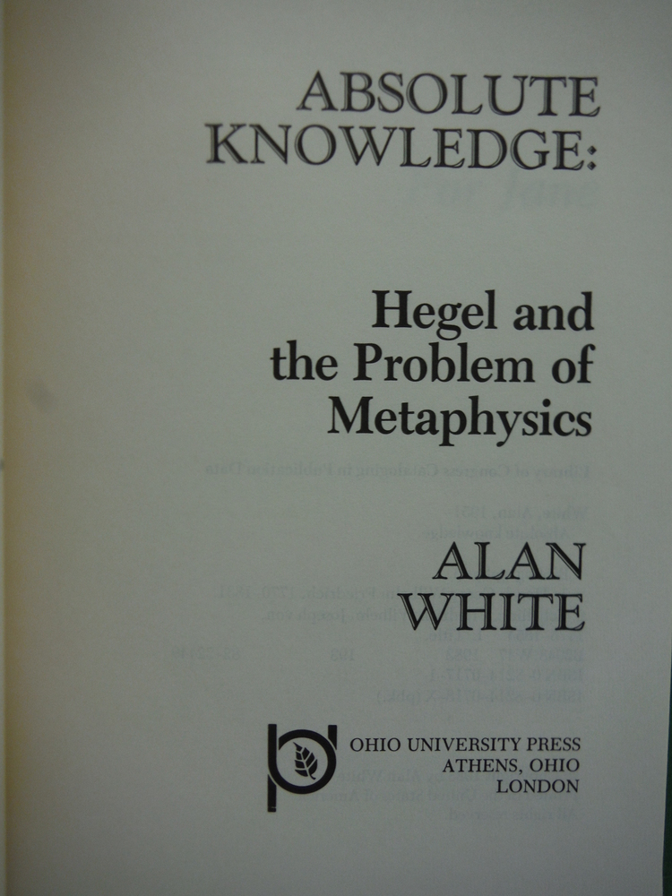Image 1 of Absolute Knowledge: Hegel and the Problem of Metaphysics (Series in Continental