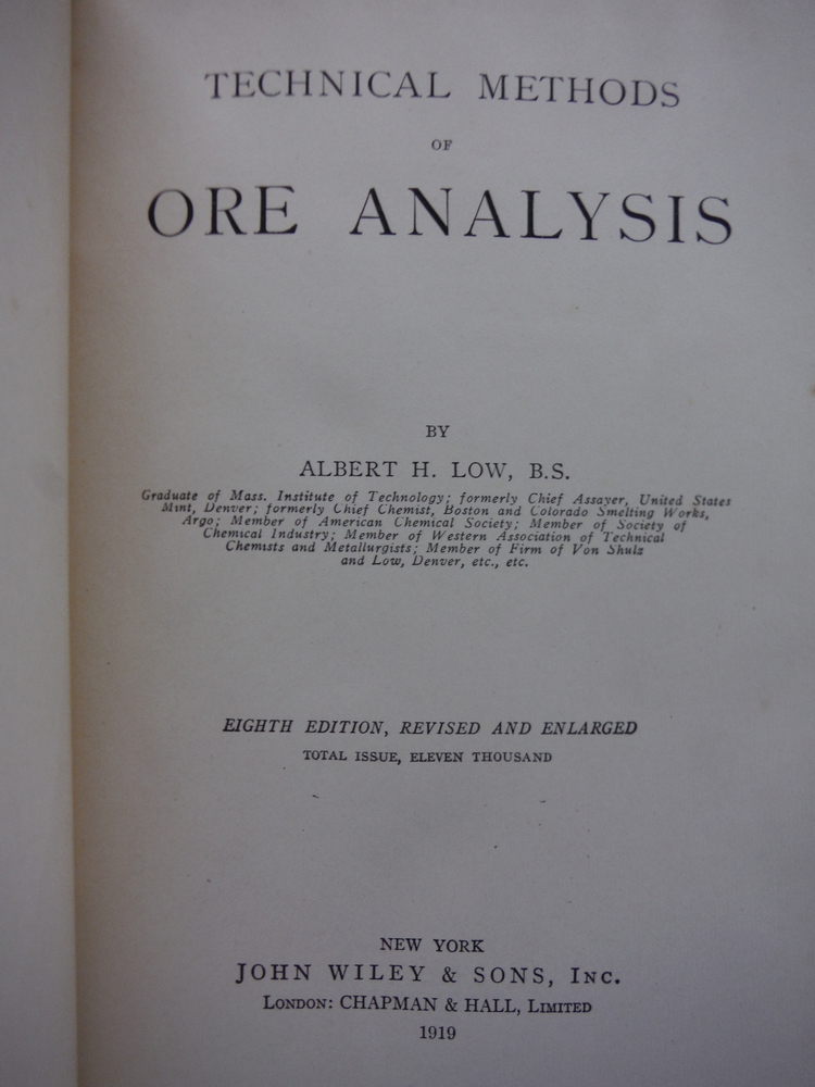 Image 1 of Technical Methods of Ore Analysis (Eighth Edition)