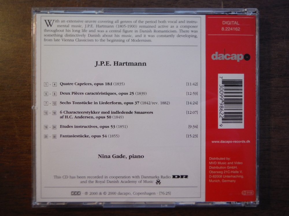 Image 1 of Set of 2 CDs of music by J. P. E. Hartmann.