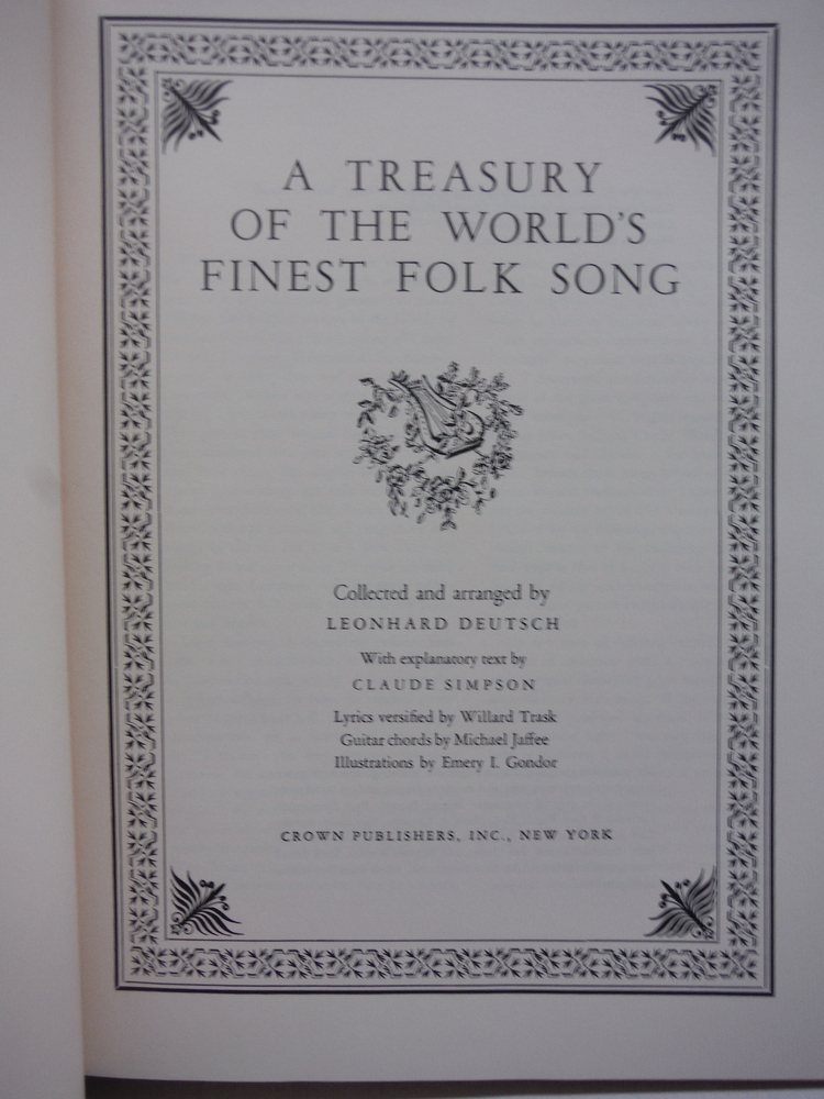 Image 1 of A Treasury of the World's Finest Folk Song