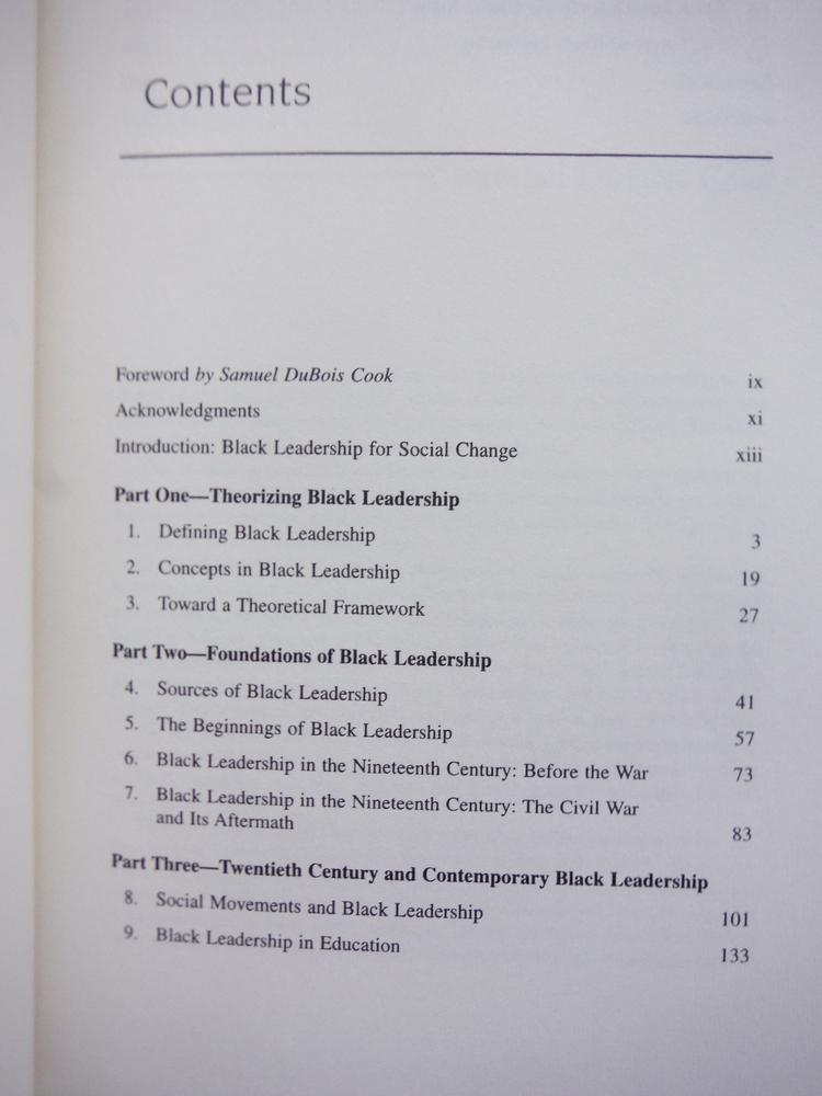 Image 1 of Black Leadership for Social Change (Contributions in Afro-American & African Stu