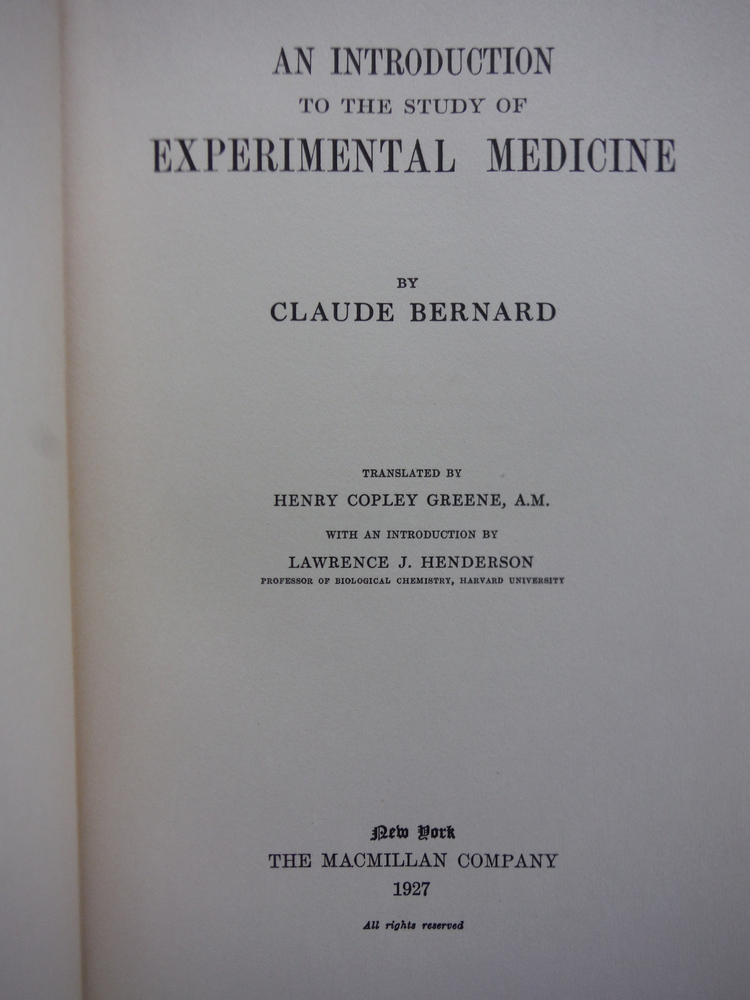 Image 1 of An Introduction to the Study of Experimental Medicine. Translated by H.C. Green,