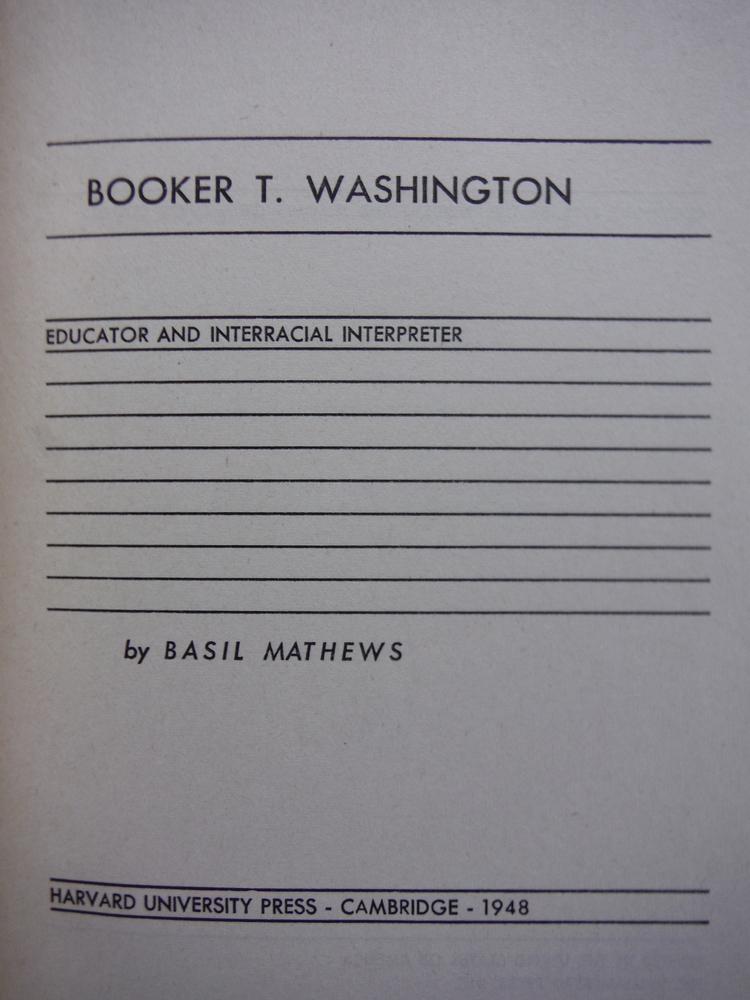 Image 1 of Booker T Washington a Biography