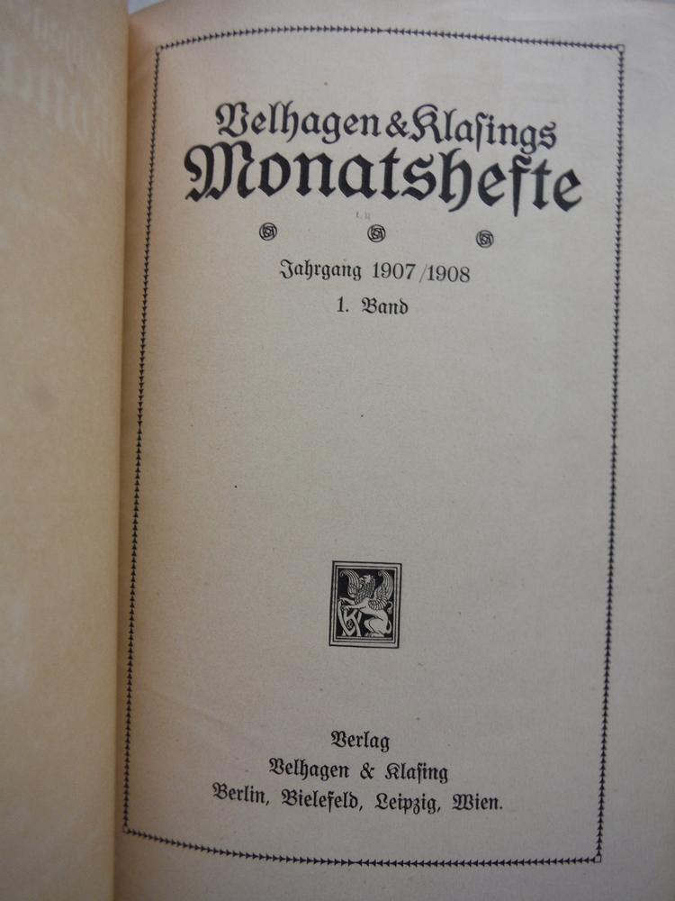 Image 1 of Velhagen & Klasings Monatshefte - XXI Jahrgang 1907/1908 -1. Band