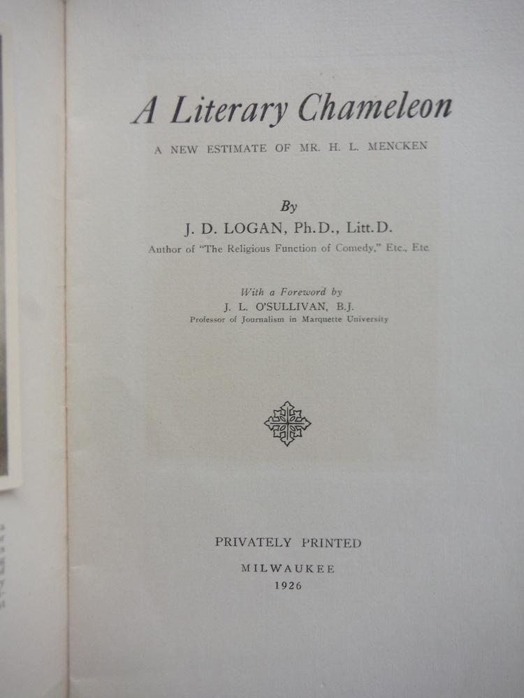 Image 1 of A Literary Chameleon A New Estimate of Mr. H. L. Menken