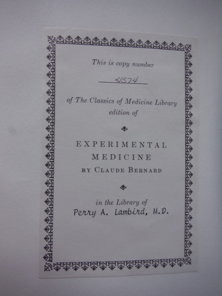 Image 1 of  An Introduction to the study of Experimental Medicine