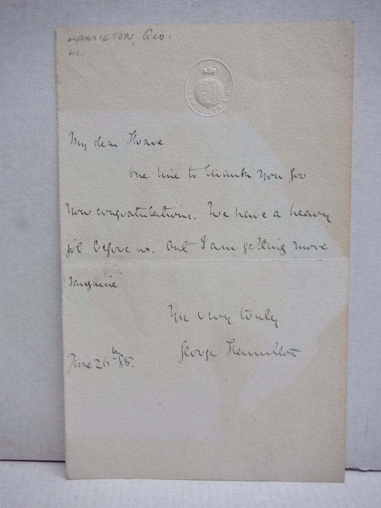 Image 0 of 1888: GEORGE FRANCIS, LORD HAMILTON HANDWRITTEN LETTER