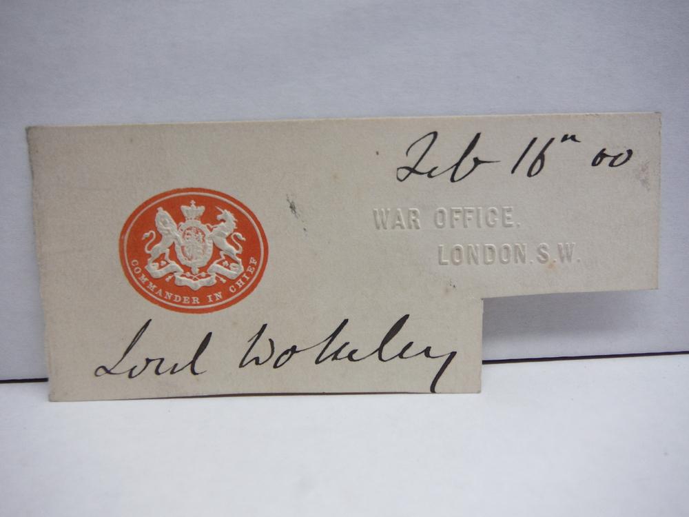 1900 ORIGINAL SIGNATURE OF GARBET, VISCOUNT WOLSELEY