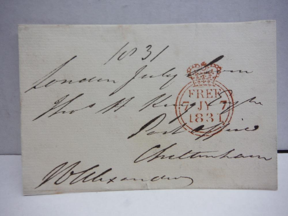1831 SIR JAMES EDWARD ALEXANDER SIGNED POSTCARD