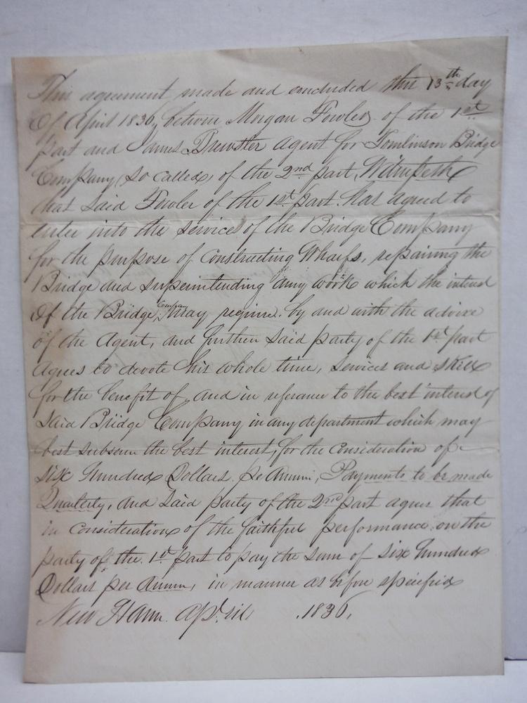 1836 TOMLINSON BRIDGE NEW HAVEN CO. CONTRACT