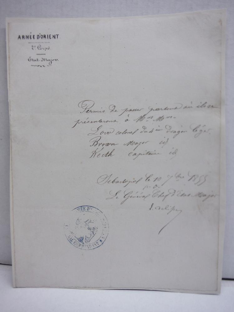 1855: ARMEE D'ORIENT CRIMEAN WAR DOCUMENT
