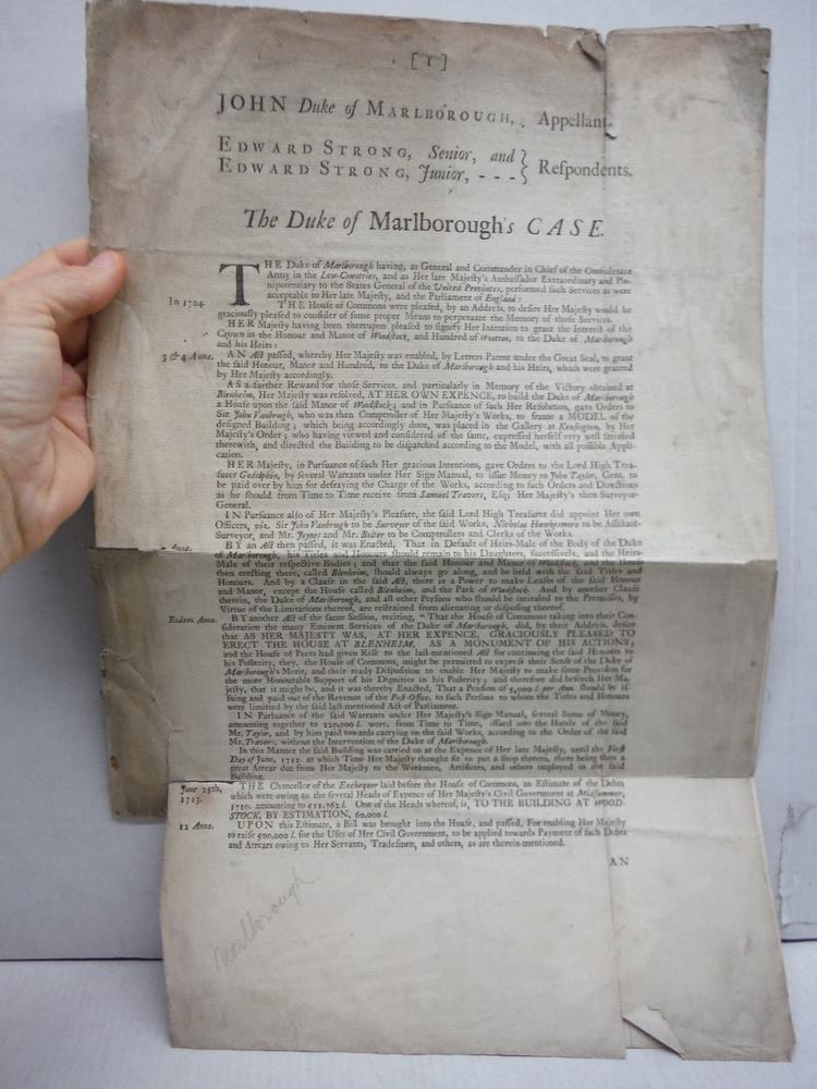 1791: JOHN CHURCHILL, DUKE OF MALBOROUGH FOUR PAGE DOCUMENT