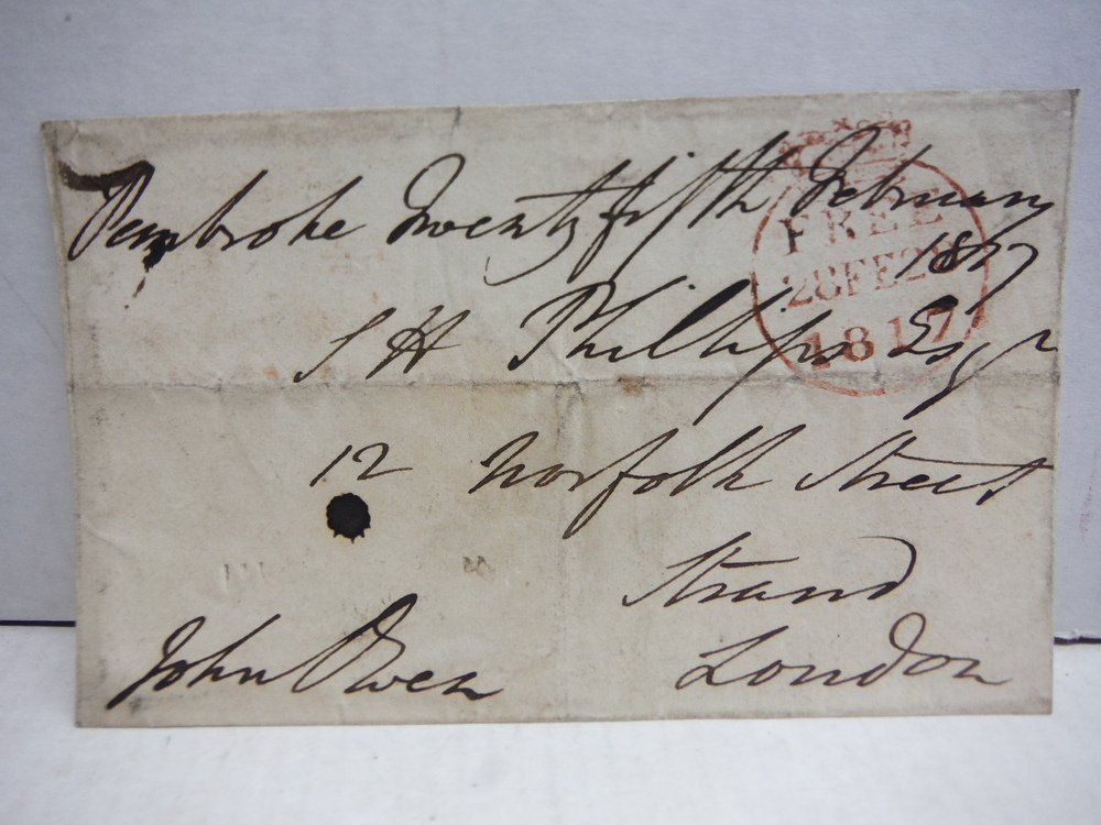 1817: SIR JOHN OWEN SIGNED POSTAL PANEL
