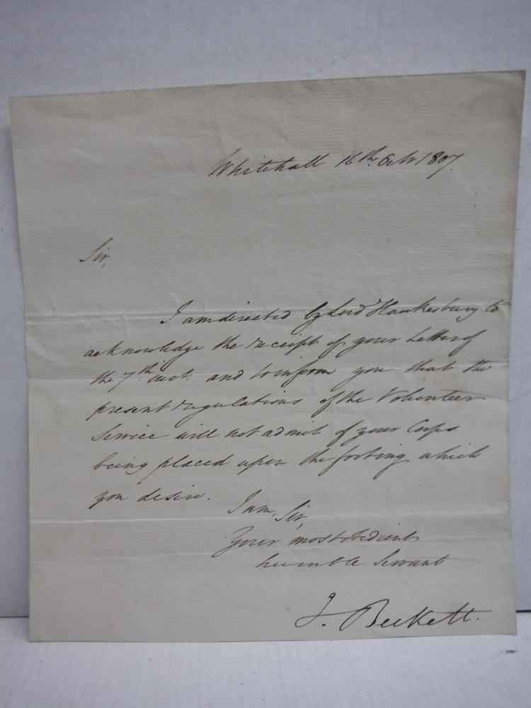 1807: J. BECKETT WAR OFFICE ENGLAND SIGNED LETTER