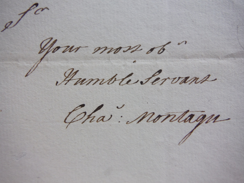 Image 1 of 1780: CHARLES MONTAGUE HANDWRITTEN LETTER REGARDING THE HUNTINGDONSHIRE MILITIA