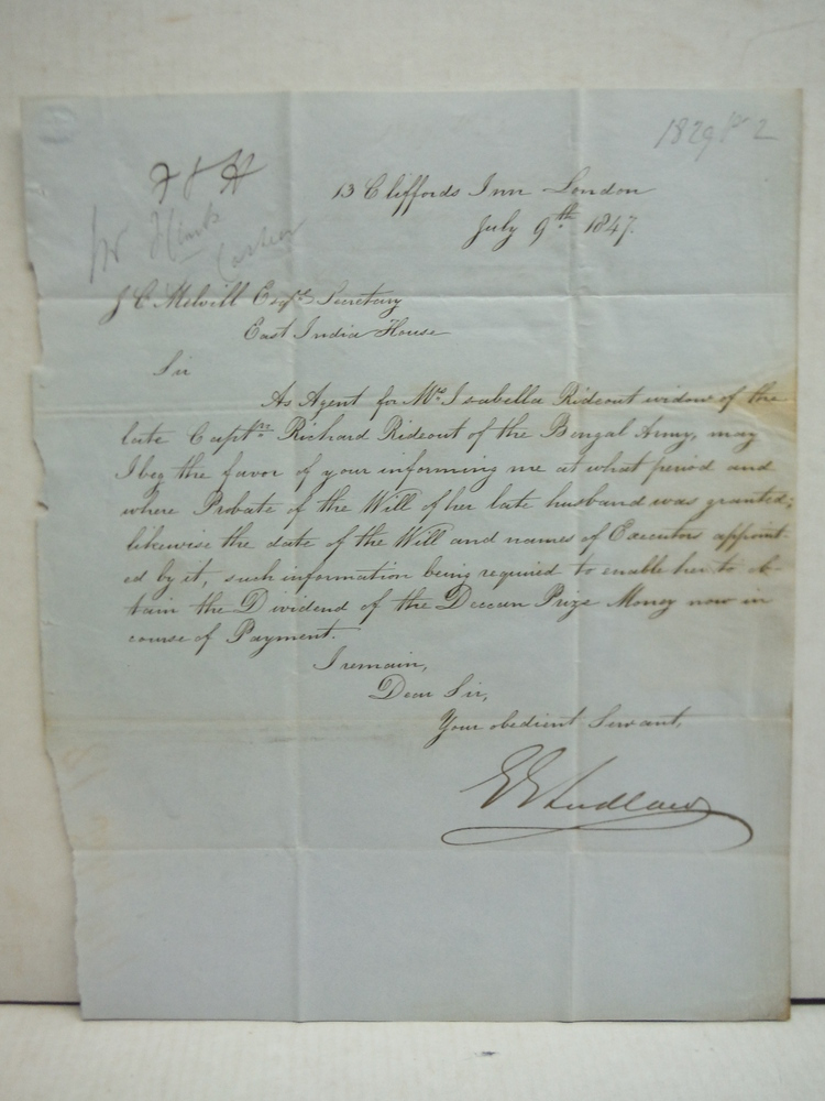 Image 2 of 1847: EAST INDIA HOUSE LETTER REGARDING PAYMENT TO DECEASED SOLDIER OF BENGAL AR