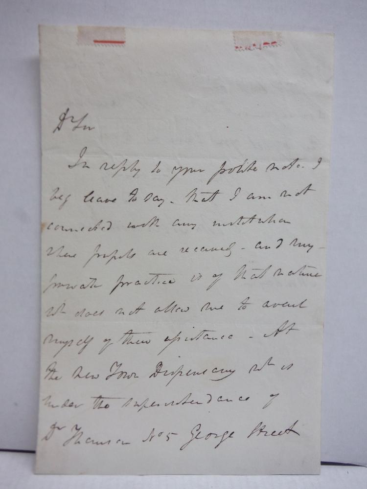 1822:  JOHN ABERCROMBIE (1780-1844) HANDWRITTEN LETTER