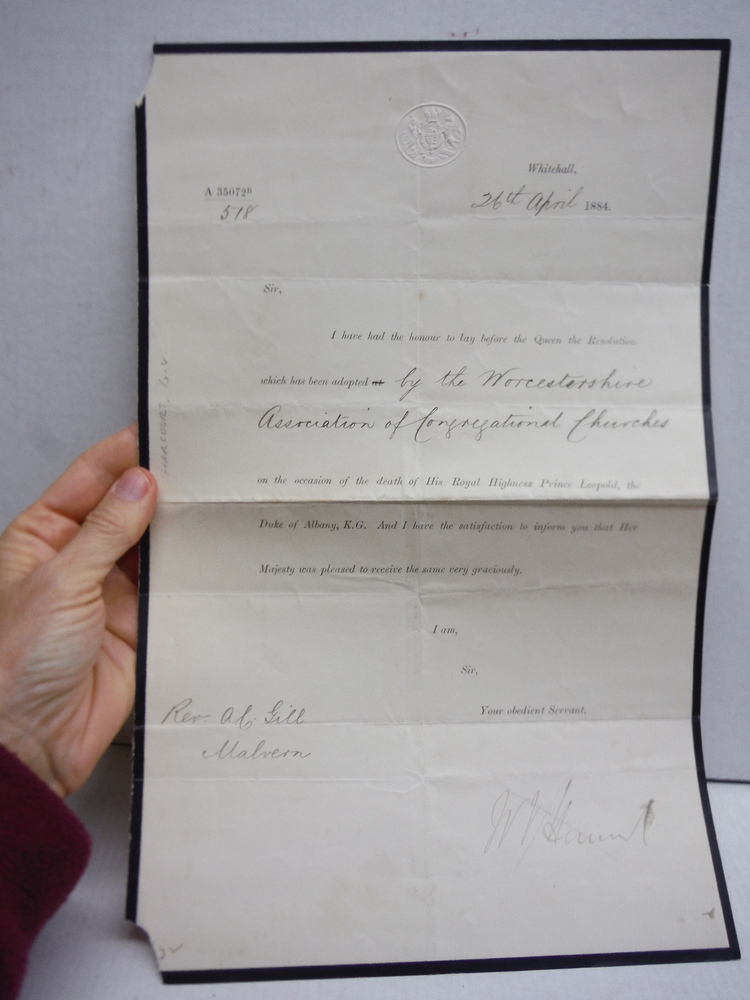 1884: RESOLUTION FROM QUEEN VICTORIA RELATED TO PRINCE LEOPOLD'S DEATH
