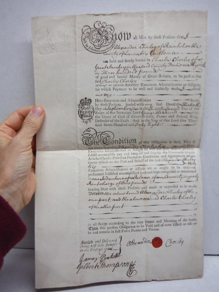 1748: ENGLISH PROMISSORY NOTE HAND SIGNED AND SEALED