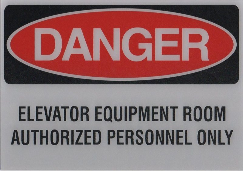 EDS-A ELEVATOR DANGER SIGN ELEV EQUIP ROOM 10X7