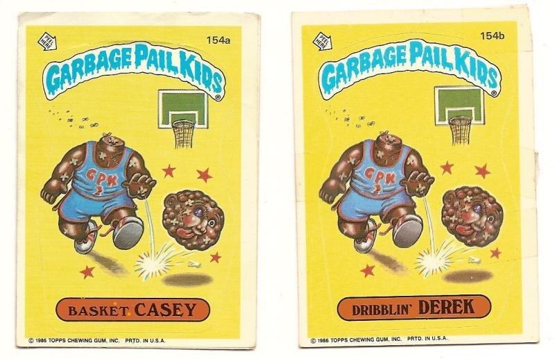 Image 0 of GARBAGE PAIL KIDS Cards 4th SERIES 154 a & b Basket Casey Dribblin' Derek