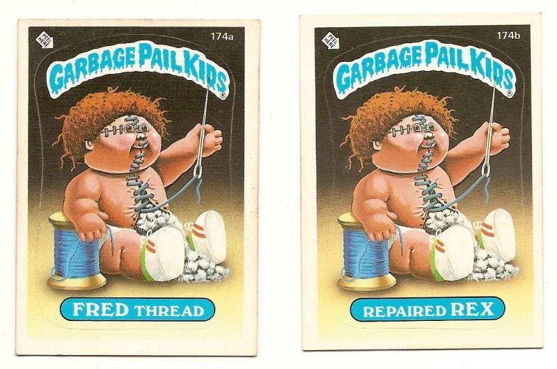 Image 0 of GARBAGE PAIL KIDS Cards 5th SERIES 174 a & b Fred Thread Repaired Rex