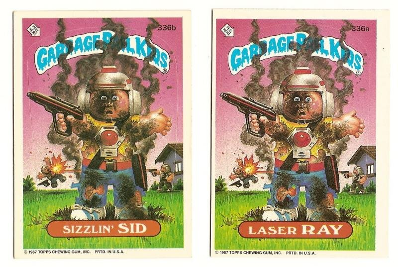 Image 0 of GARBAGE PAIL KIDS Cards 9th SERIES 336 a & b Laser Ray Sizzlin' Sid