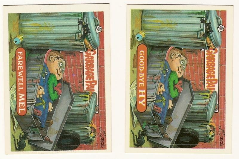 Image 0 of GARBAGE PAIL KIDS Cards 10th SERIES 382 a & b Good-Bye Hy Farewell Me