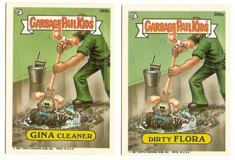 Image 0 of GARBAGE PAIL KIDS Cards 10th SERIES 399 a & b Dirty Flora Gina Cleaner