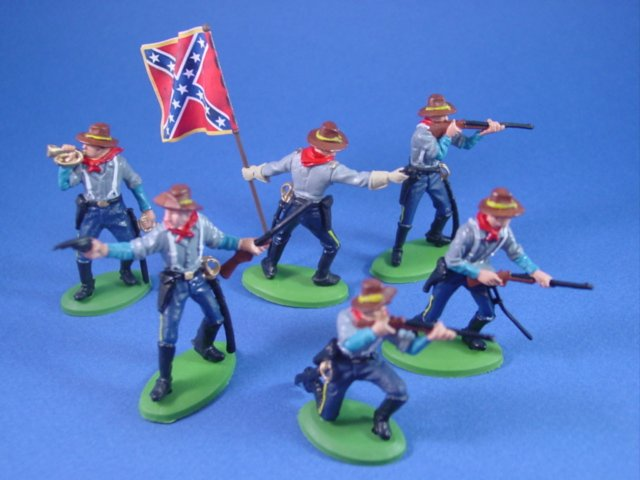 Britains Deetail DSG Toy Soldiers Confederate Cavalry with Rebel Flag