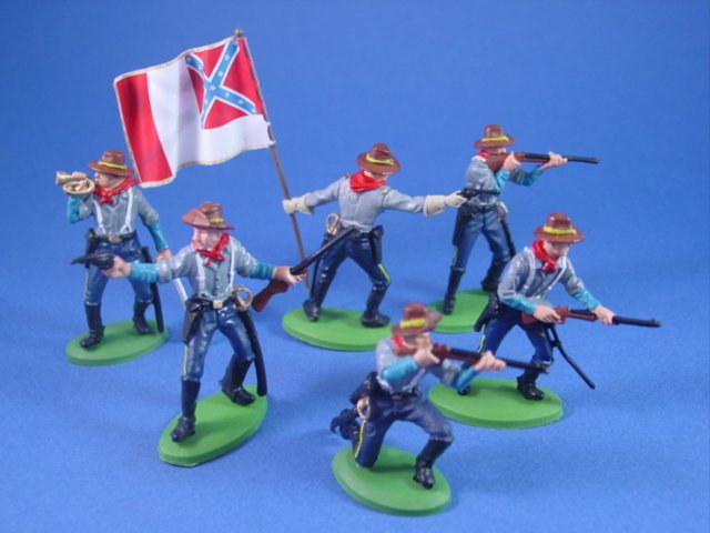 Britains Deetail DSG Toy Soldiers Confederate Cavalry with 3rd National Flag