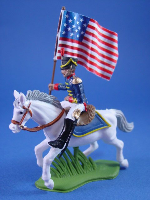 Britains Deetail DSG Toy Soldiers War of 1812 US Marines Mounted Flag Bearer