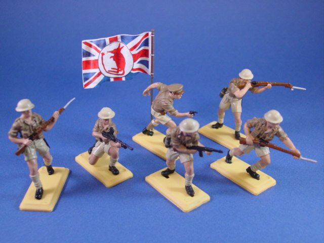 Britains Deetail DSG Toy Soldiers WWII British Desert Rats with Dynamic Battle Flag